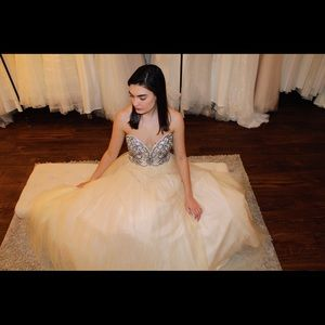 Strapless beaded ball gown prom dress